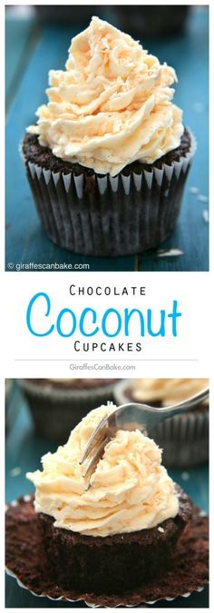 Chocolate Coconut - moist chocolate cupcakes with a sweet coconut filling and fluffy coconut buttercream frosting Chocolate Coconut Cupcakes, Coconut Icing, Chocolate Buttercream Frosting, Coconut Buttercream, Fluffy Frosting, Coconut Cakes, Chocolate Chocolate, Cupcake Recipes, Baking Recipes