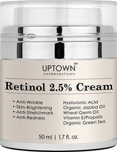 Retinol Cream for face and Eye Area from Uptown Cosmeceuticals 50 ml  With Retinol Hyaluronic Acid vitamin e and Green Tea -- Continue to the product at the image link.