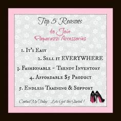 Top 5 reasons to join this AMAZING company!!!                                                Melissa J. Rooker Paparazzi Independent Consultant Producer 740.304.9109 http://www.facebook.com/PaparazziwithMelissa10559 www.paparazziaccessories.com/10559