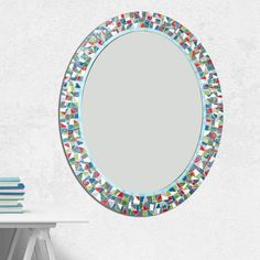Mosaic Mirror for Bathroom Mosaic Mirrors, Bathroom Mirrors, Glass Mosaic Tiles, Mosaic Wall, Picture Wire, Gray Bathroom Decor, Oval Mirror, White Paints, Colored Glass