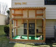 """These are """"catios,"""" or enclosed """"outdoor solutions for indoor cats,"""" Perfect for small courtyards, balconies, yards."""