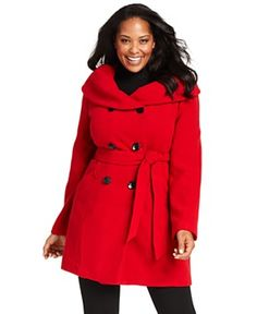 Style&co. Plus Size Coat, Double-Breasted Belted