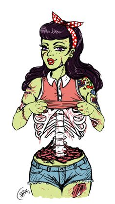 Zombie pin up by JandieMeraii.deviantart.com on @deviantART