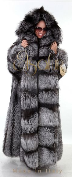 Long, Thick, Hooded Silver Fox Fur Coat