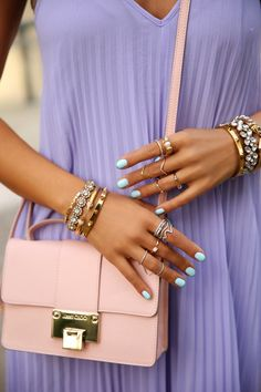 Pastel Outfit. Pastel Purple Dress. Pastel Pink Bag. Pastel Turquoise Nails. Summer Fashion. Summer Outfit