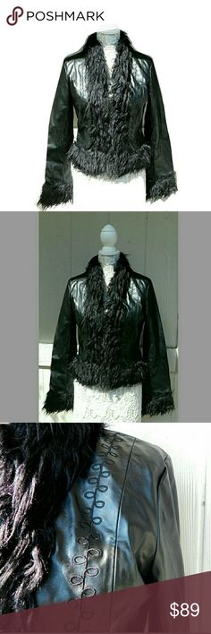 """B.B.DAKOTA STUNNING EMBROIDERED  CROP JACKET B.B.DAKOTA STUNNING EMBROIDERED CROP FUR COLLAR JACKET Pre-Loved/EUC SZ M THIS IS A LOOKER!!❤ Faux Fur with Embroidered Detail Thru out w/Hook & Eye Closure SHELL; 80% PU/ 20% PU With Backing; 65% Polyester; 35% Viscose LINING; 100% Nylon FUR TRIM; 100% Acrylic  Approx Meas;    Back Shldr  Seam to Seam   16""""    Pit to Pit   19""""    Sleeve   21""""(w/fur trim)    Back Neck to Hem   20""""  Meas R Approx & Can be Interpreted Differently on How U Measure BB…"""