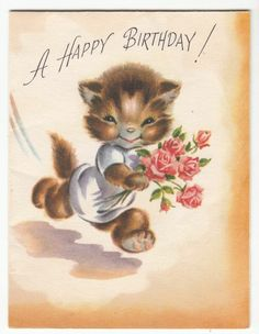 Vintage Little Kitten with a Bouquet of Flowers Birthday Greeting Card