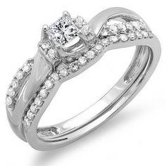 0.40 Carat (ctw) 10k White Gold Princess and Round Diamond Ladies Bridal Swirl Wave Ring Engagement Matching Band... $349.00