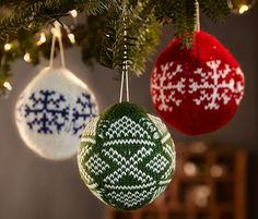 3 karácsonyfadísz szettben, norvégmintás
