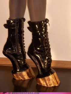 More creepy weird ass shoes! Hell on Hooves ~ BDSM, Patent Leather boots. Funky Shoes, Crazy Shoes, Me Too Shoes, Weird Shoes, Crazy High Heels, High Heels For Kids, Shoe Boots, Shoes Heels, Pointe Shoes
