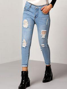 Shop Blue Slim Ripped Denim Pant online. SheIn offers Blue Slim Ripped Denim Pant & more to fit your fashionable needs.