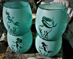 Mermaid's Sea Glass Collection – Curvy Mermaid, Sand Etched Aqua Wine Glasses That Look Like Sea Glass, by The Rusty Mermaid