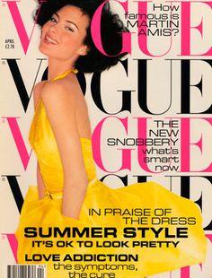 April 1995        Editor Alexandra Shulman      Cover Mario Testino    Model wears embroidered organza dress, £2,124, and silk satin belt, £40, both Prada. All make-up by Yardley. Hair: Marc Lopez. Make-up: Tracey Gray. Fashion editor: Lucinda Chambers.