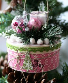 wooden or papier mache gift box, scrapbook papers, & holiday floral pick.  Find instructions for this Gift Box Ornament *Pink Paislee* http://www.pinkpaislee.com/2008/12/countdown-to-christmas-event-12-days-of-handcrafted-ornaments-starts-today/
