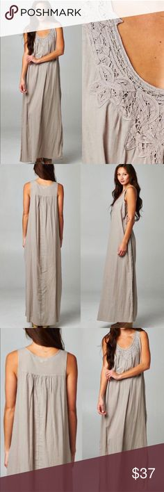 💝 Ready for vacation maxi This stunning lightweight maxi is ready for any vacation 😎 has a loose fit and fun crochet detailing at neckline. 100% Rayon. Lightweight and slightly sheer...great as a beach coverup - Price is firm unless bundled.                                              Small bust 38' Medium 40' Large 42' Boutique Dresses Maxi