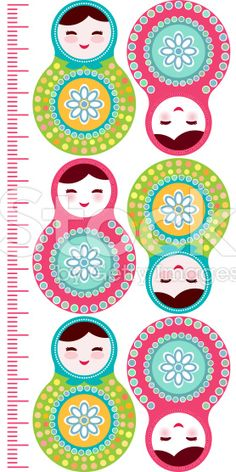 dolls matryoshka Children height meter sticker, kids measure, Growth Chart. royalty-free stock vector art