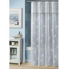 Bayhead Lace 70 W x 72 L Fabric Shower Curtain by Croscill - Bed Bath & Beyond Seashell Shower Curtain, Lace Shower Curtains, Seaside Bathroom, Bathroom Kids, Small Bathroom, Blue Rooms, Guest Suite, Beautiful Bathrooms, Coastal Decor