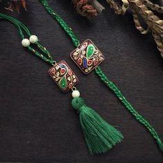 Tanjore Rakhi & Lumba Set - Green & Dark Pink – Jewellery By Mitali Jain Tassel Jewelry, Pink Jewelry, Luxury Jewelry, Statement Jewelry, Tassel Necklace, Beaded Bracelets, Diy Jewellery, Gift For Raksha Bandhan, Rakhi Bracelet