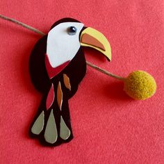 Leather Toucan Brooch