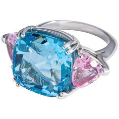 Preowned Candy Colored Aquamarine Pink Spinel Platinum Three Stone... ($32,650) ❤ liked on Polyvore featuring jewelry, rings, pink, aquamarine fine jewelry, platinum ring, 3 stone rings, three stone aquamarine ring and cushion cut ring