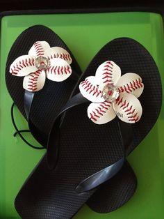 Baseball Flip Flops - Baseball Mom-  Handmades by Cherie on Etsy, $21.00