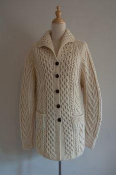 Carraig Donn Irish Aran Wool Sweater Womens Donegal Knit Long ...