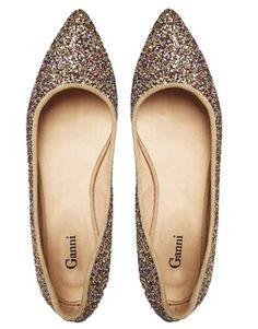 Enlarge Ganni Nina Glitter Ballerina Flat Shoes