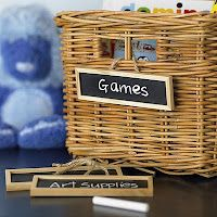 Mini chalkboard labels look great in a variety of uses and theyre easy to change. -- Kids Room Organization Tips: The Inspired Room. Organisation Hacks, Kids Room Organization, Playroom Ideas, Children Playroom, Childrens Rooms, Nursery Ideas, Chalkboard Labels, Chalkboard Paint, Pottery Barn Kids