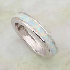 White Opal Sterling Silver Ring - Rings Ring to Perfection