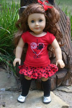 I love my cat 4 piece  outfit to fit your 18 by MiniMeDollyDivas, $25.00
