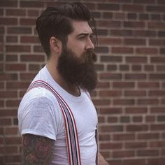 Lane Toran - full thick dark beard mustache beards bearded man men mens' style suspenders retro vintage tattoos tattooed