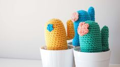Crochet cactus pattern. Patrón descargable cactus de ganchillo