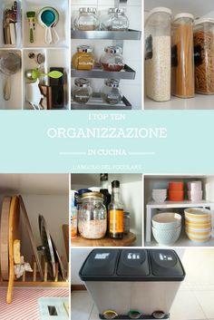 I top ten dell'organizzazione della mia cucina sono pochi e semplici accessori, molti sono Ikea, che trovo abbia un gran senso dell'organizzazione e di ciò che è davvero utile e funzionale in casa come in cucina.