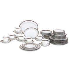 Noritake Crestwood Platinum 50-Piece Dinner Set\u2014Service for 8 plus Serving Pieces.  sc 1 st  Pinterest & MIKASA Parchment 20-Piece Fine China Dinnerware Set $89 BEST PRICE ...