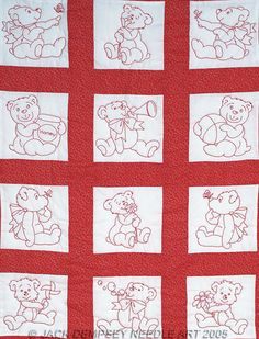 Baby Bears Nursery Quilt Squares - Embroidery Kit