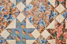 """Detail, 19th C., Sawtooth Star, Chintz and cotton fabrics, 83 x 72"""", John McInnis Auctioneers, Live Auctioneers"""