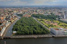 Panorama of the Summer Garden and surrounding landmarks, including St Michael's Castle and the Field of Mars in St Petersburg, Russia