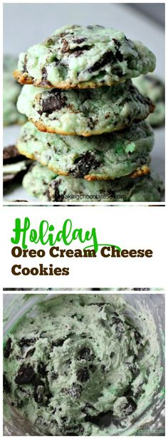 Holiday Oreo Cream Cheese Cookies I can think of nothing better than 4 things at this moment! It's pretty simple. Oreos Cream Cheese and Cookies! You get the most tasty Holiday Oreo Cream Cheese Cookies! Köstliche Desserts, Holiday Baking, Christmas Desserts, Delicious Desserts, Dessert Recipes, Christmas Holiday, Christmas Cupcakes, Green Desserts, Christmas Goodies
