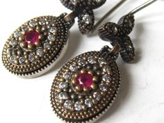 Antique inspired ruby with zircons sterling silver by Zenur, $34.90