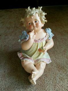 "14"" Antique Conta Boehme ? German Bisque Piano Baby Girl holding fruit"