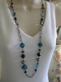 Long Black and Blue Beaded Necklace Chunky by RalstonOriginals, $15.00