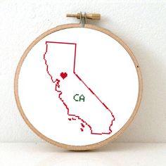CALIFORNIA Map Cross Stitch Pattern. CA State Needlepoint pattern with Sacramento. USA decor. Wedding gift.
