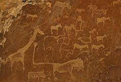 Man-lion ~ An example of rock art by the San Bushmen of Namibia