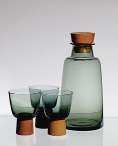 Willy Johansson / Glass, Teak and Cork 'Buster' Drinks Set / 1961 Design Plat, Glass Ceramic, Vintage Design, Glass Design, Carafe, Home Accessories, Glass Art, Pots, Mugs