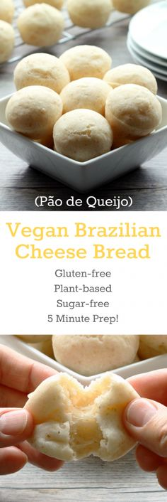 "Vegan Brazilian Cheese Bread, better known as Pão de Queijo! These light and fluffy gluten-free balls of ""cheesy"" bread goodness will be at your fingertips in 20 minutes with only 5 minutes of prep. Vegan Foods, Vegan Dishes, Diet Foods, Brazilian Cheese Bread, Fromage Vegan, Gluten Free Baking, Vegan Gluten Free Bread, Base Foods, Sans Gluten"