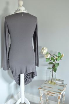 One tiny thread pluck to the back- nothing serious at all. Sarah Pacini, Gray Dress, Cowl Neck, Bell Sleeve Top, Tunic Tops, Grey, Dresses, Women, Fashion