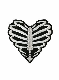 Rock Punk Black Light Gray Skeleton Ribs Embroidered Iron on Patches Applique UK