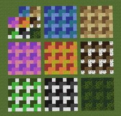 By repeating a 3x3 pattern, you can create some cool floors with carpets and other building materials