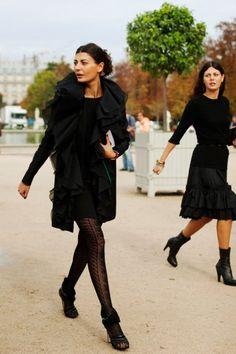 Fun Ways to Wear All Black in the Winter: Patterned Hosiery