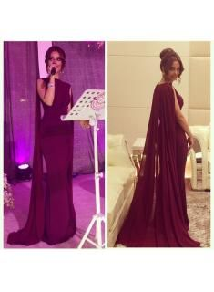 Burgundy Mermaid Robe Prom Dresses with Cape Sweep Train Evening Gowns
